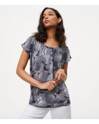 LOFT | Gray Hibiscus Bar Back Mixed Media Top | Lyst