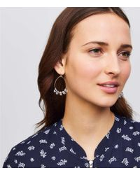 LOFT - Metallic Stone Dangle Loop Drop Earrings - Lyst