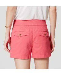 "LOFT - Pink Sailor Riviera Shorts With 4"" Inseam - Lyst"