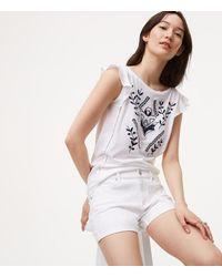 LOFT - Petite Denim Flip Cuff Shorts In White - Lyst