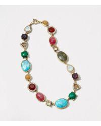 LOFT   Metallic Mixed Stone Necklace   Lyst
