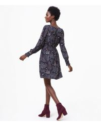 LOFT - Black Butterfly Forest Shirtdress - Lyst