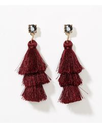 LOFT - Multicolor Tiered Tassel Earrings - Lyst