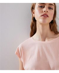 LOFT - Pink Side Tie Tee - Lyst