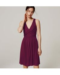 LOFT - Purple Double V Flare Dress - Lyst