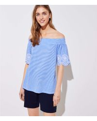 75561fa5fa0ff0 Loft Petite Striped Eyelet Off The Shoulder Tee in Blue - Lyst
