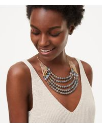 LOFT | Metallic Beaded Multistrand Necklace | Lyst