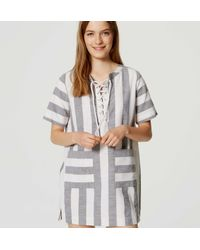 LOFT - White Beach Striped Lace Up Dress - Lyst