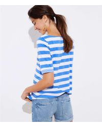 LOFT - White Striped Ballet Neck Tee - Lyst