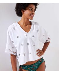 LOFT - White Beach Eyelet French Terry Short Sleeve Hoodie - Lyst