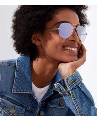 LOFT - Blue Mirrored Aviator Sunglasses - Lyst