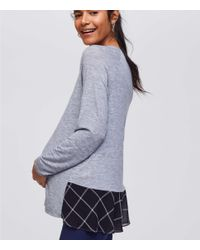 LOFT - Gray Maternity Plaid Flounce Mixed Media Top - Lyst