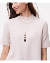 LOFT - Multicolor Stacked Stone Pendant Necklace - Lyst