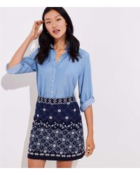aaf3a2890 LOFT Floral Embroidered Shift Skirt in Blue - Lyst