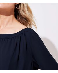 LOFT - Blue Maternity Lantern Sleeve Shirred Blouse - Lyst