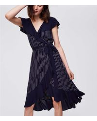 LOFT - Blue Pinstripe Ruffle Wrap Dress - Lyst