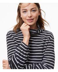 LOFT - Blue Petite Striped Blouson Cowlneck Top - Lyst