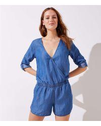 LOFT - Blue Chambray Wrap Jumpsuit - Lyst