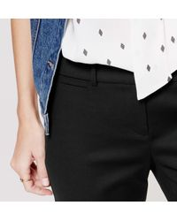 LOFT - Black Doubleweave Riviera Cropped Pants In Marisa Fit - Lyst