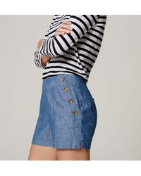"""LOFT - Blue Petite Chambray Sailor Riviera Shorts With 3 1/2"""" Inseam - Lyst"""