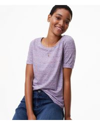 LOFT - Purple Petite Spacedye Ballet Neck Tee - Lyst