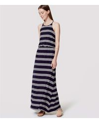 LOFT - Blue Tall Striped Racerback Maxi Dress - Lyst