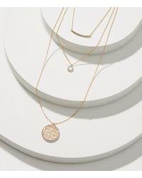 LOFT | Metallic Layered Filigree Pendant Necklace Set | Lyst