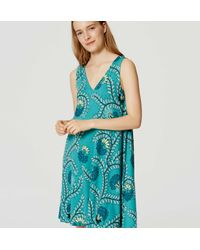 LOFT - Green Vine Tie Swing Dress - Lyst