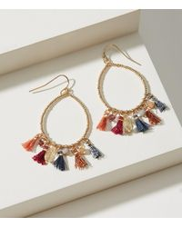 LOFT - Metallic Tassel Teardrop Earrings - Lyst