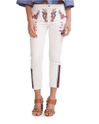 Cynthia Rowley - White Embroidered Cropped Pants - Lyst