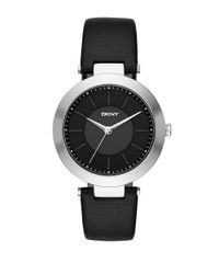 DKNY - Stanhope Stainless Steel Black Leather Strap Watch, Ny2465 - Lyst