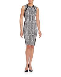 Calvin Klein | Black Graphic Herringbone Sheath Dress | Lyst