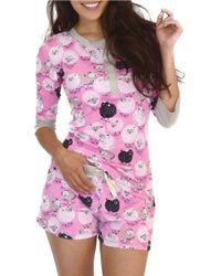 Munki Munki - Pink Sheep Three-quarter Sleeve Henley And Shorts Set - Lyst
