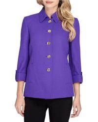 Tahari | Blue Three-quarter Sleeve Jacket | Lyst
