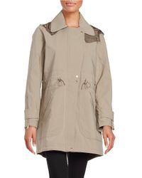 Vince Camuto | Gray Hooded Fishtail Anorak | Lyst