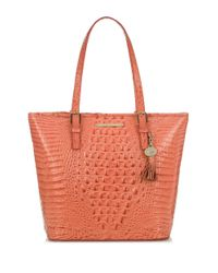 Brahmin | Red Asher Croc Embossed Leather Tote Bag | Lyst