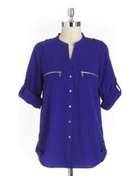CALVIN KLEIN 205W39NYC - Blue Zipper Utility Shirt - Lyst