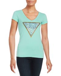 Guess - Blue V-neck Logo Tee - Lyst