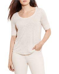 Lauren by Ralph Lauren - Multicolor Plus Striped Linen Tee - Lyst