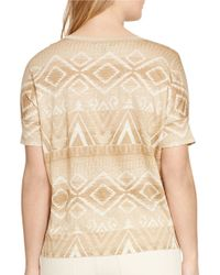 Lauren by Ralph Lauren - Multicolor Plus Patterned Linen Jersey Tee - Lyst