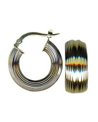 Lord & Taylor | Metallic 14k Yellow Gold Textured Hoop Earrings | Lyst