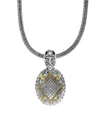 Effy | Metallic Diamond, Sterling Silver And 18k Yellow Gold Pendant Necklace | Lyst