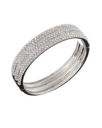 Nadri | Gray Triple-row Crystal Bangle Bracelet | Lyst