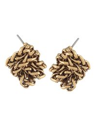 Lauren by Ralph Lauren | Metallic Goldtone Braided Knot Stud Earrings | Lyst