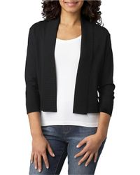 Calvin Klein | Black Three-quarter Sleeve Shawl Sweater | Lyst