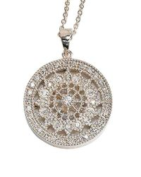 Effy - Metallic Pave Classica 14k White Gold Diamond Medallion Pendant Necklace - Lyst