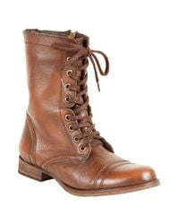 Steve Madden | Brown Troopa Leather Combat Boots | Lyst