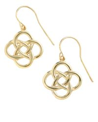 Lord & Taylor - Metallic 18 Kt Gold Over Sterling Silver Celtic Knot Drop Earrings - Lyst