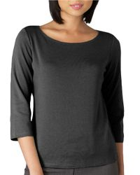 Eileen Fisher | Black Petite 3/4 Sleeve Ballet Top | Lyst