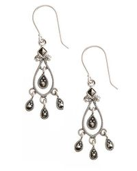 Lord & Taylor - Metallic Sterling Silver And Marcasite Chandelier Earrings - Lyst